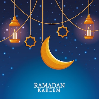 Ramadán kareem con luna menguante y arte islámico