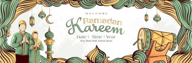 Ramadán kareem con mano dibujado ornamento ilustración islámica sobre fondo blanco grunge
