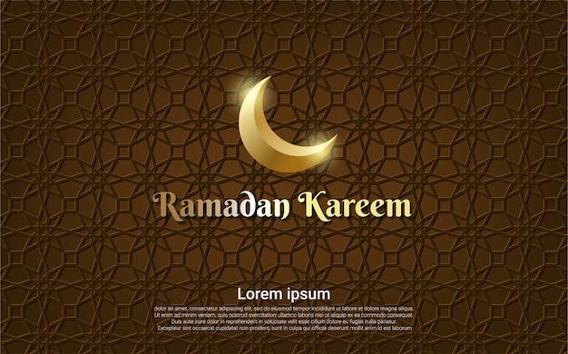 Ramadan kareem marrón con fondo de luna