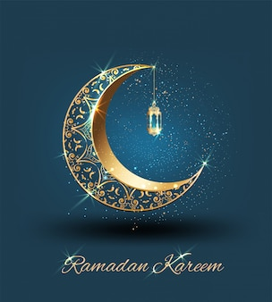 Ramadán kareem con media luna dorada adornada y mezquita de línea islámica