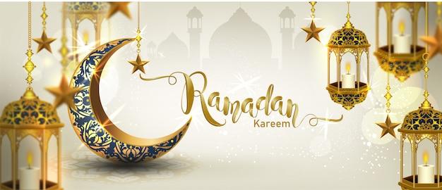 Ramadán kareem con media luna de oro lujoso de media luna, plantilla adornada con elemento islámico para, estilo 3d
