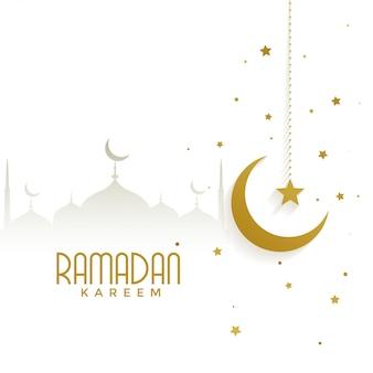 Ramadan kareem con mezquita y luna dorada.