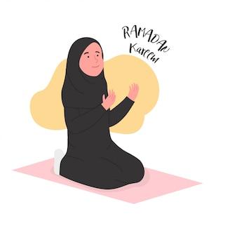 Ramadán kareem mujer árabe rezando