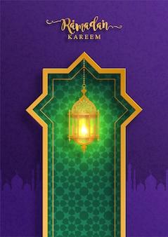 Ramadan kareem o eid mubarak saludo fondo islámico con oro estampado y cristales sobre fondo de color de papel.