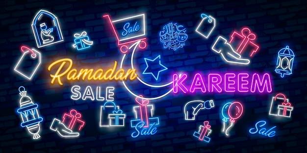 Ramadán kareem oferta oferta colección de banners neon.
