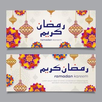 Ramadán kareem pancartas horizontales con estrellas arabescas 3d, linterna y flores. ilustración para tarjeta de felicitación, póster y cupón