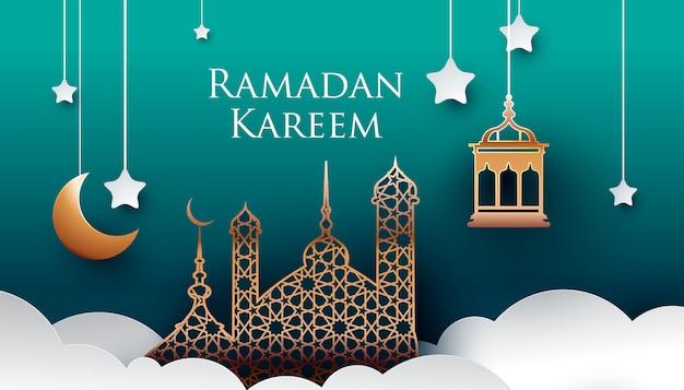 Ramadan kareem papel arte estilo diseño