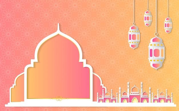Ramadán kareem papel gráfico del arte islámico.