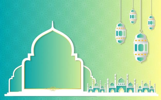 Ramadan kareem paper graphic de ilustración de vector de arte islámico