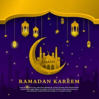 Ramadán kareem plantilla de fondo premium