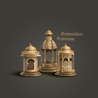 Ramadán kareem plantilla de saludo islámico