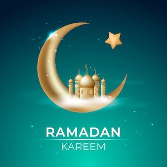 Ramadán kareem realista con ciudad y luna