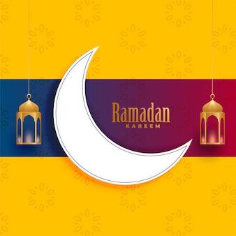 Ramadán kareem saludo diseño de tarjeta de decoración