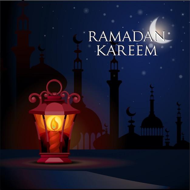 Ramadán kareem saludo fondo ilustración vectorial
