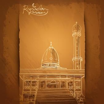 Ramadán kareem saludo islámico de fondo