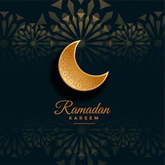 Ramadán kareem saludo con luna dorada