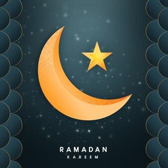 Ramadán kareem saludos con luna