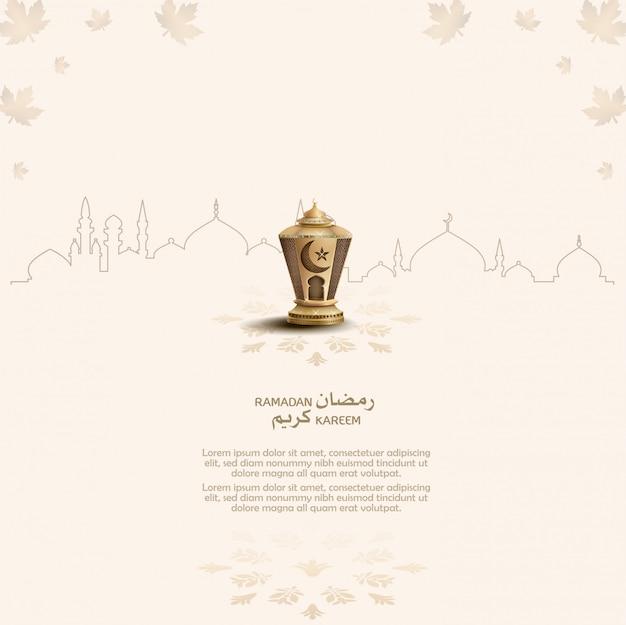 Ramadán kareem tarjeta de felicitación islámica con linterna mágica
