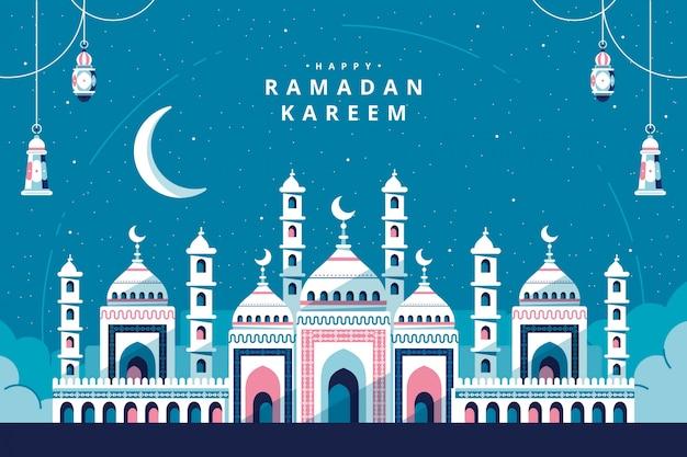 Ramadán kareem con tarjeta de felicitación de la mezquita