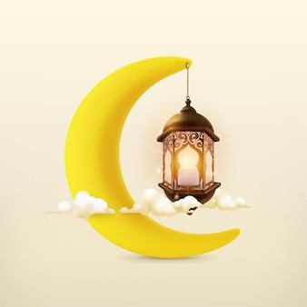 Ramadán kareem, tarjeta de felicitación de vector con luna y lámpara