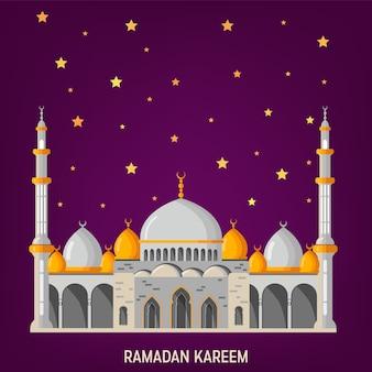 Ramadan kareem vector diseño de tarjeta de felicitación con mezquita, minaretes, lámparas árabes brillantes y decoración ornamental.