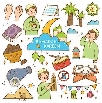 Ramadan kawaii doodle