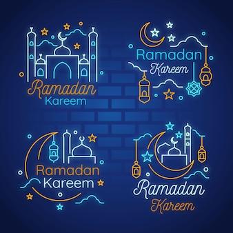 Ramadán letras letrero de neón
