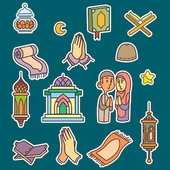 Ramadan lleno icono de contorno estilo libre