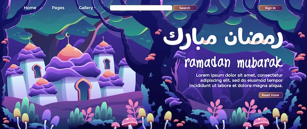 Ramadán mubarak con una dulce mezquita de cúpula de flores en una página de aterrizaje del bosque de fantasía