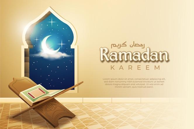 Ramadán con mushaf realista y ventana árabe