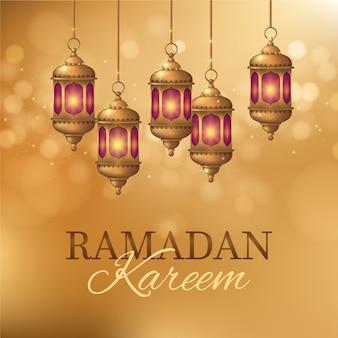 Ramadán realista con linternas