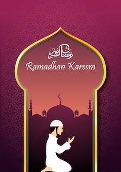 Ramadhan kareem con un hombre musulmán rezando