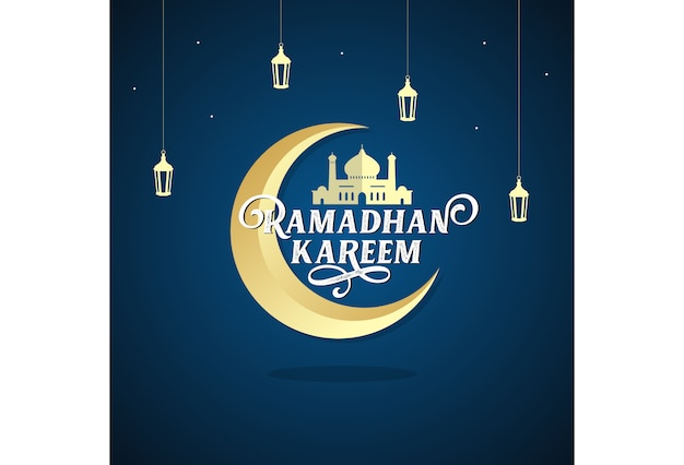 Ramadhan kareem lantern mosque moon and star vector