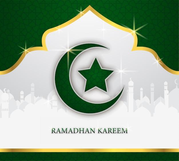 Ramadhan tarjeta de felicitación con luna