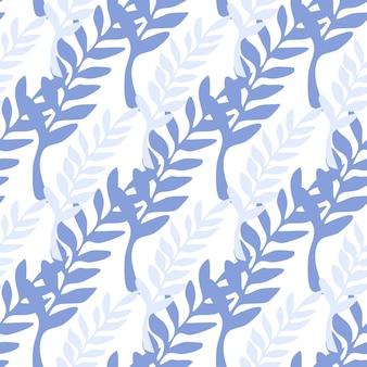 Ramas azules y púrpuras de patrones sin fisuras. telón de fondo de rama de hoja. ilustración de vector sobre fondo blanco para cubiertas textiles o de libros, fondos de pantalla, diseño, arte gráfico, envoltura