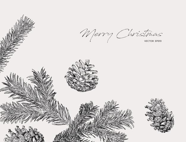 Ramas y conos de pino ilustración de navidad