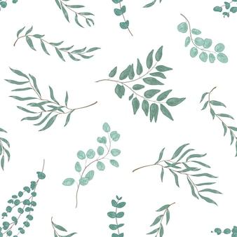 Ramas de eucalipto realistas y hojas de patrones sin fisuras. ramas de plantas dibujadas a mano. flora, textura de follaje. impresión monocromática textil floral. diseño vectorial de papel tapiz botánico realista.