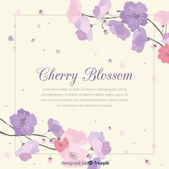 Ramas y flores de cerezo dibujadas a mano