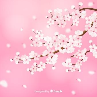 Ramas y flores realistas de cerezo