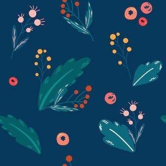 Ramas de navidad y bayas de patrones sin fisuras. feliz navidad, feliz año nuevo fondo para tarjetas de felicitación, papeles de regalo. patrón de invierno sin costuras. ilustración vectorial.