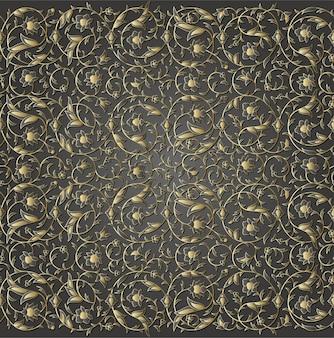 Ramas de patrón floral transparente de lujo arabesco con flores, hojas y pétalos