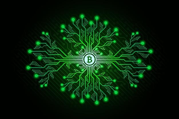 Ramas de placa de circuito impreso con signo de bitcoin y efectos brillantes. concepto de minería de bitcoin