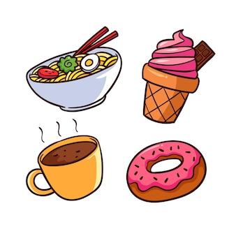 Ramen y deliciosos dulces comida reconfortante