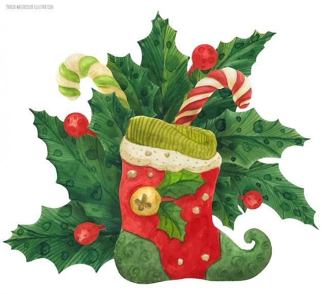 Ramo de acebo de navidad con medias de duende y bastones de caramelo, acuarela trazada