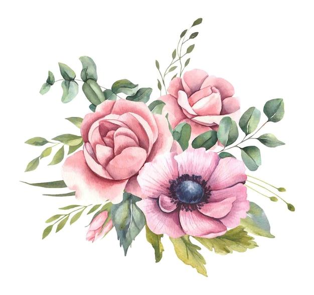 Ramo de acuarela con hojas, flores.