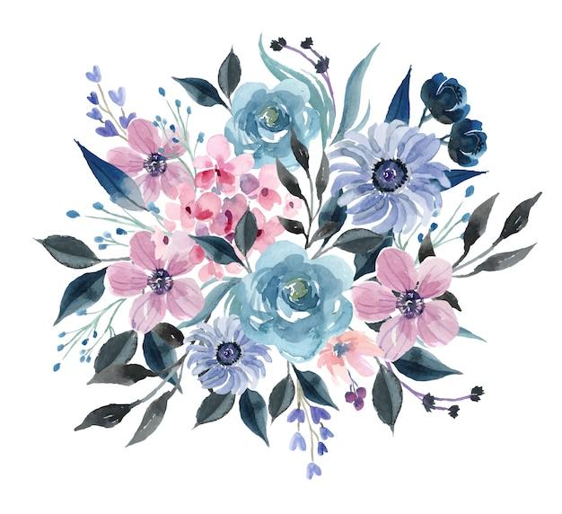 Ramo de acuarela con rosa azul de invierno