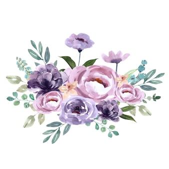 Ramo para decoración de portada única, flores exóticas de color púrpura