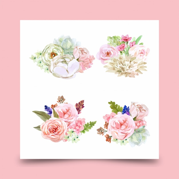 Ramo decorativo floral de flores rosas para diseño