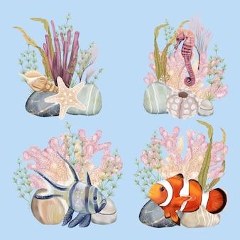 Ramo de fiesta mundial submarina con peces y caballitos de mar