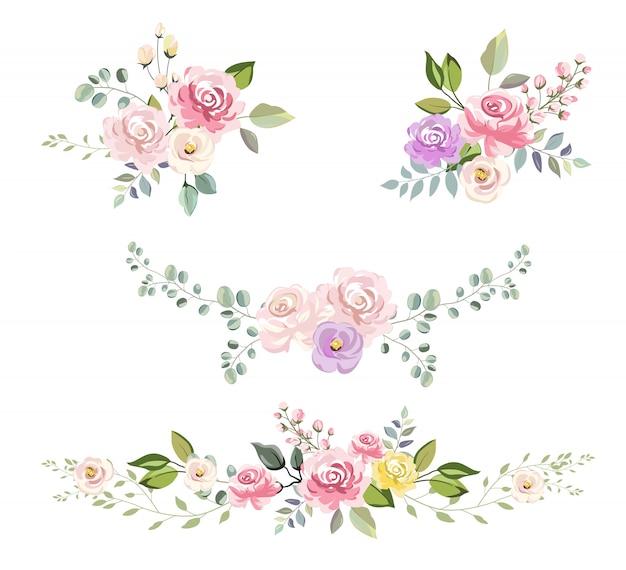 Ramo floral acuarela para decoración de invitación.